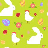 Happy Easter Seamless Pattern Holiday Symbols Ornament Background. Vector Illustration Royalty Free Stock Image