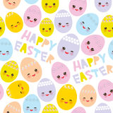 Happy Easter seamless pattern. Kawaii colorful blue green orange pink yellow egg with pink cheeks and winking eyes, pastel colors Stock Photo
