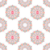 Happy Easter seamless pattern. With mandalas of colorful eggs. Vector illustration. All over print Royalty Free Stock Images