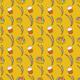 Happy Easter Seamless Pattern with Traditional Eggs and Cake. Vector background Stock Image