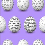 Happy Easter seamless pattern. Easter white eggs with monochrome simple decoration on purple Stock Photo