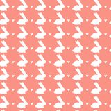 Happy Easter Seamless Pattern With White Rabbits Ornament On Pink Background. Vector Illustration Stock Photo