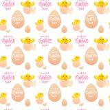 Happy Easter Seamless Pattern With Yellow Chicken In Eggs On White Background. Vector Illustration Stock Image