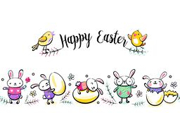 Happy Easter seamless vector border with greeting handwritten text, cute singing chick. Decorative horizontal stripe