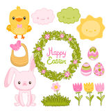 Happy Easter set with cartoon cute bunny, chicken. Eggs, wreath, flowers Royalty Free Stock Images