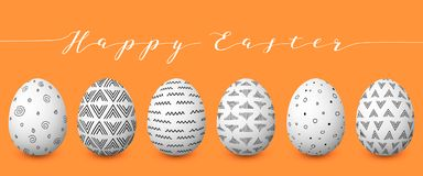 Happy Easter. Set of colorful Easter eggs with different simple textures on golden background. Stock Image