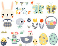 Happy Easter set with cute animals Stock Photography