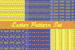 Happy Easter. Set of cute holiday backgrounds. Collection of seamless patterns. Stock Images