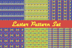 Happy Easter. Set of cute holiday backgrounds. Collection of seamless patterns. Royalty Free Stock Images