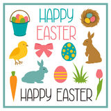 Happy Easter set of decorative objects. Can be used for holiday design, backgrounds and greeting cards Royalty Free Stock Image