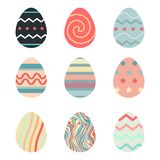 Happy Easter.Set of Easter eggs with different texture stock photography