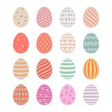 Happy Easter. Set of Easter eggs with different texture on a white background. Spring holiday. Flat isolated  illustration. Happy Easter. Set of Easter eggs Royalty Free Stock Photography