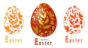 Happy Easter.Set of Easter eggs with floral texture on a white background. Spring holiday. Vector Illustration.Happy vector illustration