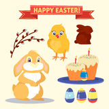 Happy Easter Set of Elements. Rabbit, Eggs, Chicken and Cake. Vector illustration Stock Photography