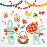 Happy Easter Set of Elements - Rabbits, Eggs, Chicks, Flowers Stock Image