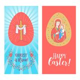 Happy Easter! Set of festive painted Easter eggs. Vector illustration royalty free illustration