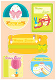 Happy Easter set of five cards. With coloured eggs and cute blue bunny Stock Image