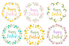Happy Easter set floral frame for text,  on white background. Vector illustration. Royalty Free Stock Image