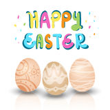Happy easter set. Happy easter greeting card set of three easter eggs isolated on white background Stock Illustration