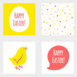 Happy Easter set - greeting cards, seamless pattern Stock Photos