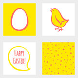 Happy Easter set - greeting cards, seamless pattern Stock Images