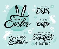 Happy Easter. Set of Happy Easter lettering and design elements Royalty Free Stock Image