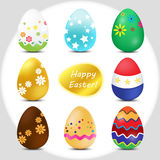 Happy Easter!. Set of multicolor easter eggs. happy easter. Vector Illustration Stock Images