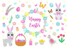 Happy Easter set objects, design elements. Spring collection with cute bunnies, flowers and Easter eggs. Vector. Illustration royalty free illustration