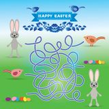 Happy Easter set. Rabbit, eggs, bird. labyrinth game for Preschool Children. Vector Royalty Free Stock Photo