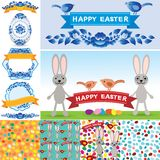 Happy Easter set. Rabbit, eggs, flowers, ribbons, seamless pattern. Collection element retro vintage style. vector Royalty Free Stock Image