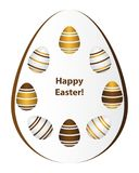 Happy Easter.Set of realistic different multicolored eggs, Golde vector illustration