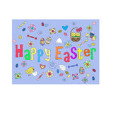 Happy Easter. Set of Easter's symbols in funny key Stock Image