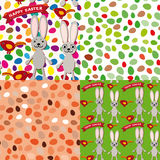 Happy Easter set of seamless pattern. Rabbit, eggs, bird, ribbon Royalty Free Stock Photos