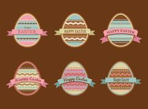 Happy Easter - set of stylish eggs icons Royalty Free Stock Photo