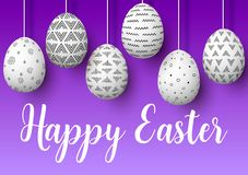 Happy Easter. Set of white pending easter eggs with different simple ornaments on purple background. Easter decorated hanging eggs. vector illustration Royalty Free Stock Image