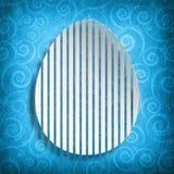 Happy Easter - shape of egg on blue patterned background vector illustration