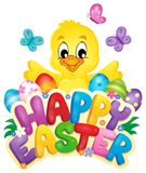 Happy Easter sign with chicken and eggs Royalty Free Stock Photos