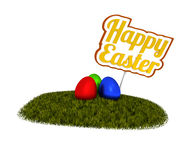 Happy Easter sign with colored eggs Royalty Free Stock Image