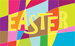 Happy Easter sign with colorful stripes. Royalty Free Stock Photo