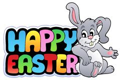 Happy Easter sign with happy bunny. Illustration Stock Photo
