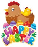 Happy Easter sign with hen and chicken Royalty Free Stock Photo