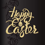 Happy Easter sign letters of gold texture Stock Image