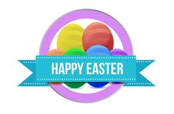 Happy, Easter sign seal illustration isolated. Over a white background stock illustration