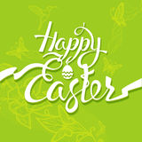Happy Easter sign, symbol, logo on a green background. Royalty Free Stock Image