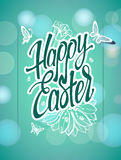 Happy Easter sign, symbol, logo on a  green background Royalty Free Stock Photography