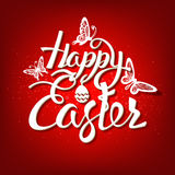 Happy Easter sign, symbol, logo on a red background. Royalty Free Stock Photos
