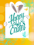 Happy Easter sign, symbol, logo on a  yellow background with the flowers. Festive banner lettering Stock Photos