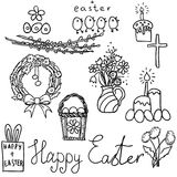 Happy Easter signs set. Isolated. Vector Royalty Free Stock Photos