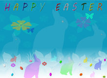 Happy Easter Silhouette Bunny Greeting Card Royalty Free Stock Photo