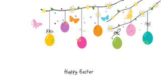 Happy easter silhouette eggs, bunny, chick greeting card vector Royalty Free Stock Photos